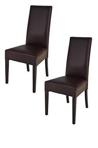 Tommychairs - 2er Set Stühle Luisa für Küche und Esszimmer, Struktur aus lackiertem Buchenholz Farbe Wengeholz, gepolstert und mit Kunstleder in der Farbe Mokka bezogen
