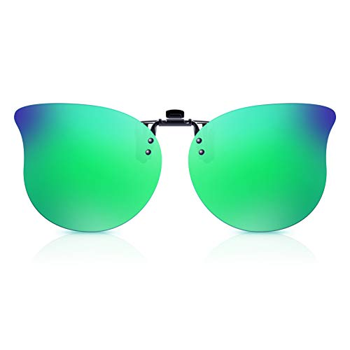 Polarized Clip On Sunglasses Over Prescription Glasses for Men Women Kids by Goiteia Cateye Flip up Sunglasses Anti Glare UV400 Protection Suit for Driving Shopping Camping Outdoor Sports Green