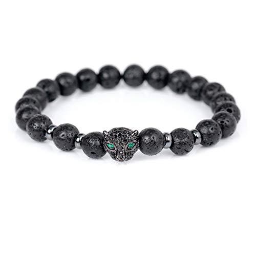 JINGGEGE Jengijo Estilo Europeo 8mm Lava Stone Beads Beads Bracelets CZ Beads Leopard Head Charm Pulsera para Hombres Joyería (Metal Color : Black)