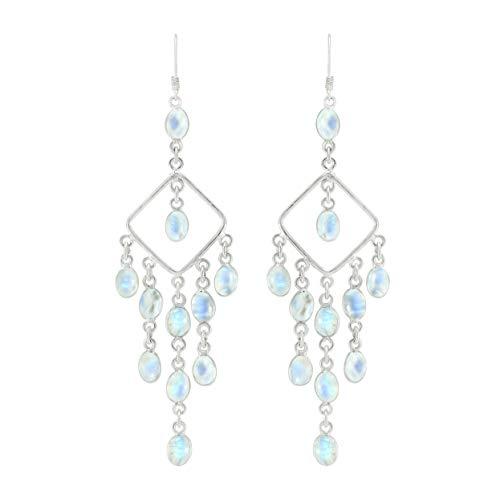 Natural Moonstone Earrings 925 Silver Overlay handmade Dangle Earrings for women