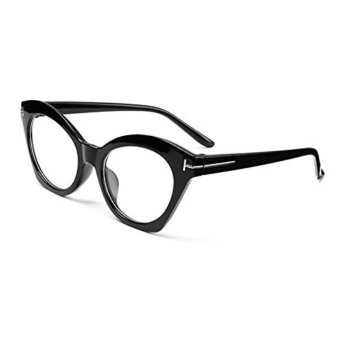 Gafas de lectura, Unisex Visión Cuidado de la Computadora Gafas Gafas Irregular Marcos Gafas Anti-Azul Luz Gafas (Color: Negro Brillante, Tamaño: +1.5)