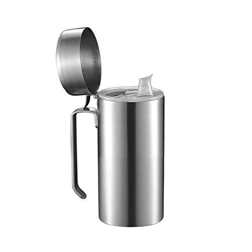 Dosatore di olio in acciaio inox, per olio, olio d'oliva in acciaio inox, con coperchio per filtro e filtro
