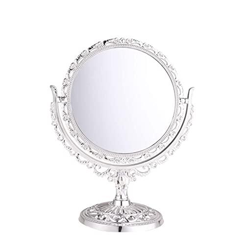 WFY Retro Princesa Espejo, Hueco Fuera de Plata Escritorio Espejo de Alta definición casa Decorativo Espejo niña baño 360 ° spin Espejo de Doble Cara Espejo de Maquillaje