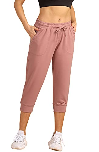 icyzone Women's French Terry Jogger Lounge Sweatpants - Active Capri Pants for Women (XL, Dusty Pink)