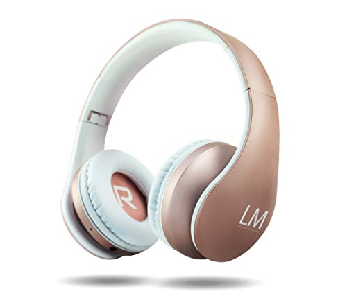 Louise&Mann Bluetooth Kopfhörer, Over Ear Kabellose Kopfhörer, Hi-Fi Stereo, Faltbar, mit Mikrofon, FM Radio, Micro SD slot kompatibel mit iOS, Android, PC, Laptop, Tablet (Rose Gold)