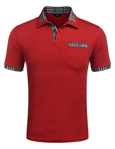 COOFANDY Poloshirt Herren Polohemd Golf Polo Kurzarm Slim Fit Baumwolle Plaid Kragen Sport Sportstil Rot XL