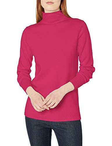 Amazon Essentials Long-Sleeve 100{6438b89bc075147894471b1d03256d6aa73022423ad959cff0ba98cd7e9f06d6} Cotton Roll Neck Sweater Pullover-Sweaters, Kräftiges Rosa, US M (EU M - L)