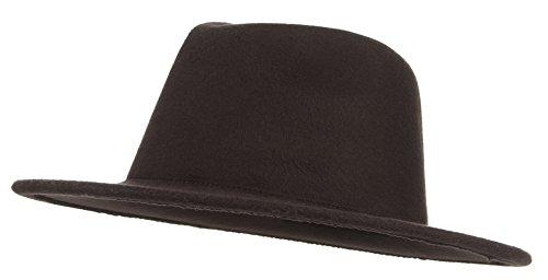 GEMVIE Sombrero Fedora para Hombre Mujer Caballero Sombrero Invierno Fieltro Lana ala Ancha Trilby Hat Bombín Jazz Sombrero(Marrón)