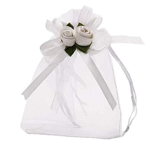 Rose Sac Organza Sacs Sac cadeau de mariage Favor cadeaux Pochettes de bijoux avec cordon de serrage pour soirée de mariage de Noël 50pcs