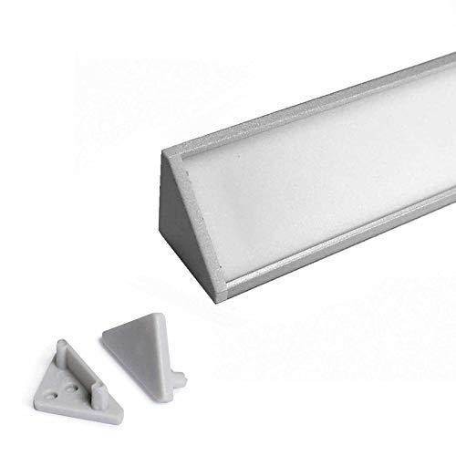 CABI (CA) Eckprofil Aluminium 2m eloxiert | Innen-Eckleiste für Led Streifen bis 10mm Breite | Eck-Profil + Acryl Abdeckung milchig-weiß (opal) + Endkappen |Aluprofil belastbar