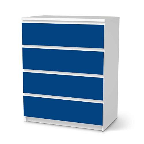 creatisto Möbel-Folie passend für IKEA Malm Kommode 4 Schubladen I Möbeldekoration - Möbel-Sticker Aufkleber Folie I Deko Wohnung für Wohnzimmer, Schlafzimmer - Design: Blau Dark