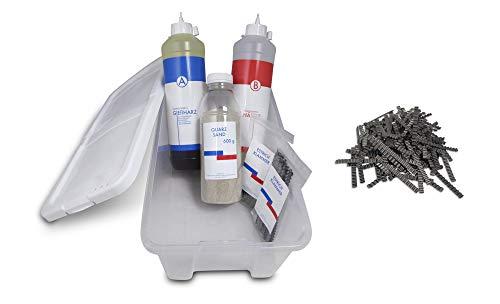 Kombi-Box, Reparaturset zur Risssanierung in Estrich und Beton, 600g Quarzsand, 40 Stück Estrichklammern 70 mm, Schnellreparaturharz 600 ml