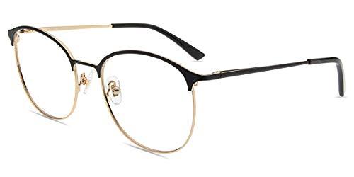 Firmoo Browline Brille Blaulicht Entspiegelt ohne Sehstärke Damen, Herren Blaulichtfilter Computerbrille gegen Kopfschmerzen Augenmüdigkeit, UV Schutzbrille für Bildschirme, Metall Brille Schwarz