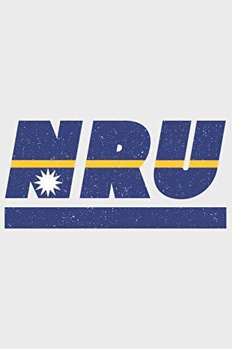 NRU: Nauru Notizbuch mit karo 120 Seiten in weiß. Notizheft mit der naurischen Flagge