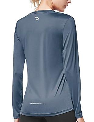 BALEAF Women's Long Sleeve Workout Shirts Sun Protection Activewear Running Tops Grey Size L