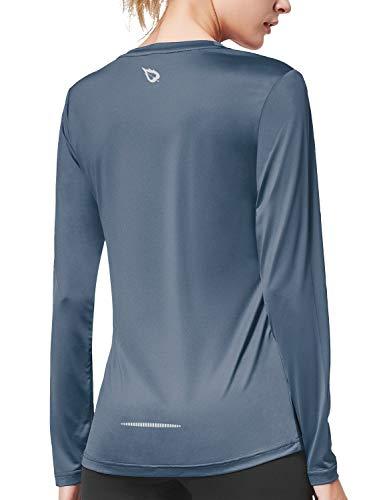 BALEAF Women's Long Sleeve Workout Shirts Sun Protection Activewear Running Tops Grey Size XL
