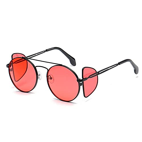 Gafas De Sol Hombre Mujeres Ciclismo Gafas De Sol Redondas Vintage Punk para Mujer, con Montura Metálica, Gafas De Sol para Hombre, Color Negro, Rojo