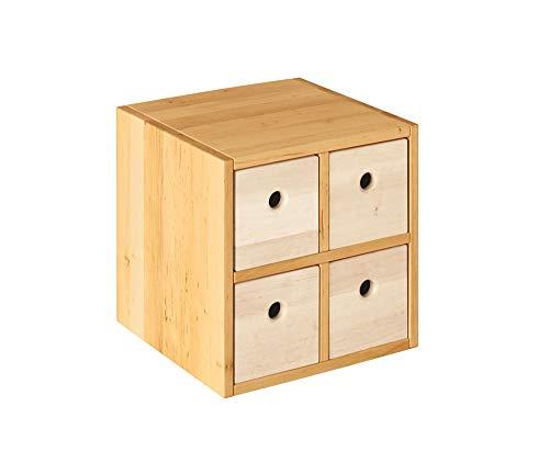 BioKinder 23414 Laura Spar-Set Regalwürfel Office mit Vier Schubladen aus Massivholz 40 x 40 cm weiß lasiert