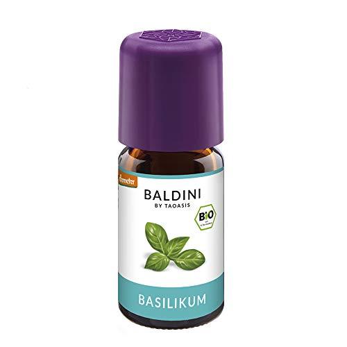 Baldini - Basilikumöl Bio, 100{8670a94fc1d95f37f7ea14cf1be7b11bb6c2dea932970c48722e5c1b71e84e70} Naturreines Ätherisches Bio Basilikum Öl Fein, Bio Aroma, 5 Ml