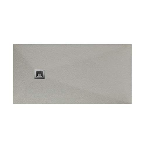 Plato de ducha rectangular de 160 x 80 x 3 centímetros, con válvula de desagüe, colección Suite N, color gris piedra (Referencia: 6348623)