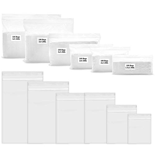 600 Pack 2 Mil Thick Poly Zip Bags, 6 Assorted Sizes, 1.5x2 2x2 2x3 3x3 3x4 3x5 Inch. Clear Durable Food Grade Safe PP Plastic Resealable Zipper Baggies for Jewelry, Bead, Toy Piece, Pill, Snack.