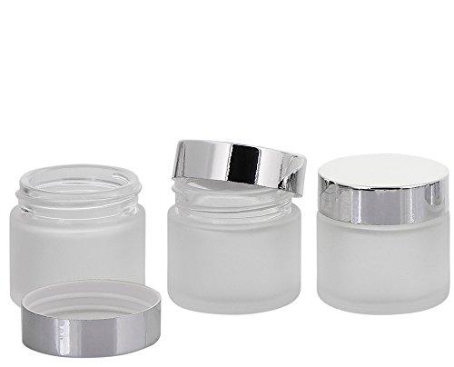 Matt Glas-Tiegel 30 ml m. Deckel, Leere Kosmetex Glas Creme-Dose, Kosmetik-Dose, 3× 30 ml Mattglas mit Silber Deckel