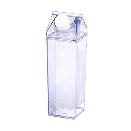 YepYes Botellas Botella de Agua del cartón de Leche de plástico Transparente Plaza Taza de Leche estancos portátil Jugo del Vaso Reutilizable para Fitness Camping Deportivo