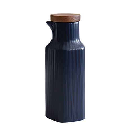 LAYG 400ML Aceitera de Cerámica,Dispensador de Aceite de Oliva,Botella Contenedor de Aceite de Oliva, Vinagre, Salsa de Soja/Blue