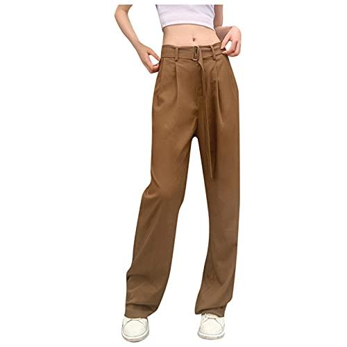 TRFPLOOC Damen Hose High Waist Casual Breites Bein Elegant Freizeithosen Einfarbig Anzughose Büro Pants Elegant mit Gürtel
