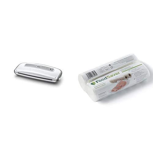 FoodSaver FFS014X-01 Envasadora al vacío, 140 W, Acero Inoxidable, Blanco + 2001 FSR2002-I envasado al vacío, 2 Rollos de 20 x 6.70 cm, 20 cm x 6.7 m