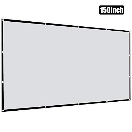 azurely Beamer canvas 150 inch, draagbaar projectiescherm 16: 9 HD 4K, opvouwbaar voor thuisbioscoop binnen- buiten-voor- en achterprojectie