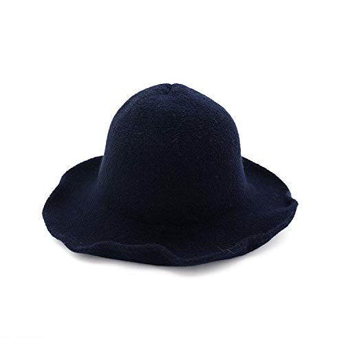 ANDERDM 2017 New Lady Wool Hats for Women Woolen Knitted Fedoras Cap Panama Dark Blue