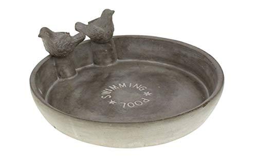 MAIKAI XL Vogeltränke Pool ca. D25 x H10,5 cm Mit 2 Vögel Vogelbad Wassertränke Aus Zement Beschichtet Tränke für Vögel und Tiere Garten Deko Geschenk Gartenfreunde