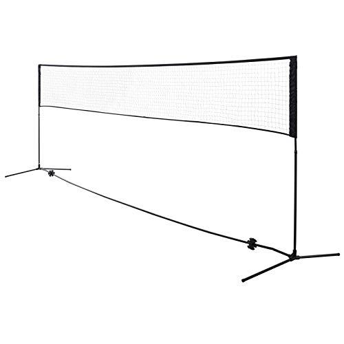 HOMCOM Red de Tenis Bádminton Voleibol 4 Metros Altura Ajustable 94-158cm Plegable y Portátil con Bolsa de Transporte 400x60x94/158cm