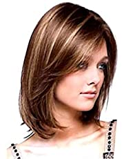 Synthetic hair wig for women blonde medium size