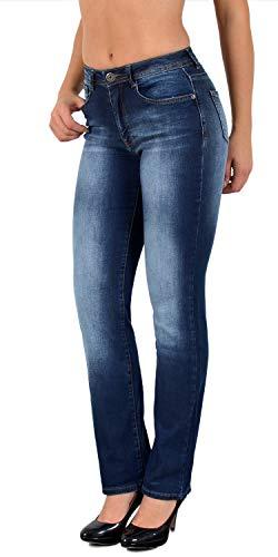 ESRA Damen Jeans Hose Damen Jeanshose gerader Schnitt Straight-Fit bis Übergröße G600