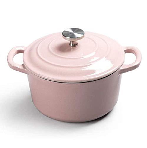 YFGQBCP freidora sin Aceite Cazuela de Hierro Fundido Redondo, Olla de Sopa de Cacerola pequeña para 2-3 Personas, Cacerola Antiadherente con Tapa y Fondo Antideslizante (18 cm) (Color : Pink)