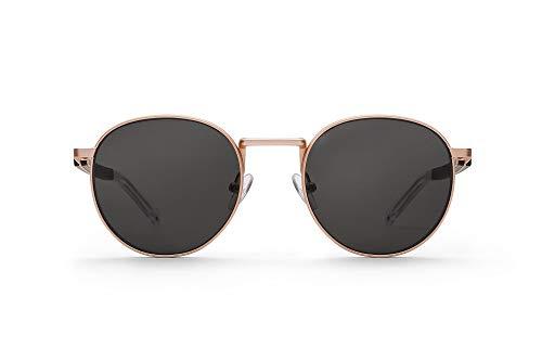 TAKE A SHOT – Runde Holz-Sonnenbrille unisex, mit filigranem Metall-Rahmen und Metall-Holz-Bügel, UV400 Schutz, rückentspiegelte Gläser, Janis