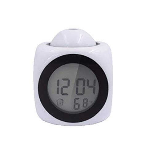 Rehomy Digitaler Wecker Multifunktions mit Stimme Sprechen Led Projektion Temperatur-Weiß