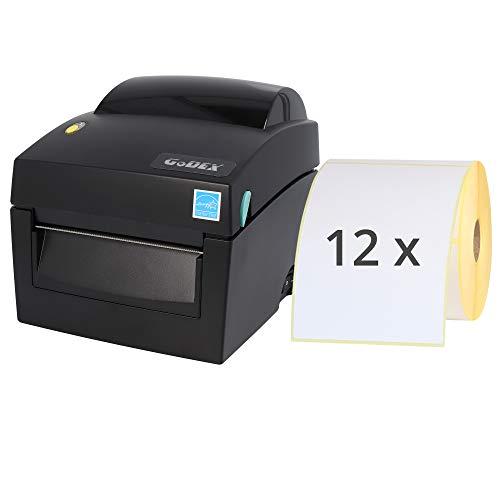Labelident Starter-Set - Godex DT4X Drucker mit Abreißkante inkl. 6000 Versandetiketten (12 Rollen ERT-E100X150Z1-P500), 203 dpi - Thermodirekt - 108 mm max. Druckbreite, LAN, seriell, USB