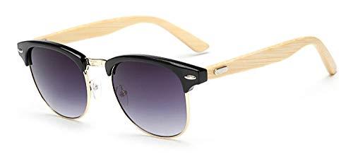 FJCY Gafas de Sol de bambú para Hombre, Medio Marco de Madera, Espejo para Mujer, Gafas de sol-Kp1505-C1