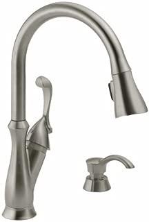 DELTA FAUCET 19950Z-SSSD-DST Arabella High Arc Pull Down ShieldSpray Kitchen Faucet, Single Handle, Stainle - Quantity 1