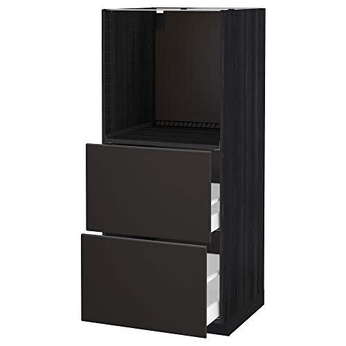 METOD/MAXIMERA Mueble alto con 2 cajones para horno 60x61,6x148 cm negro/Kungsbacka antracita