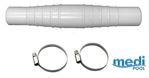 Schlauchverbindungsstück, beidseitiger Schlauchanschluss 32mm bis 38 mm, mit 2 Stk. Edelstahl Schlauchschellen (33 - 57) - Universal Schlauchtülle mit 2 Schellen für Pool - Schwimmbadschlauch - Poolschlauch - Sandfilter - Teich