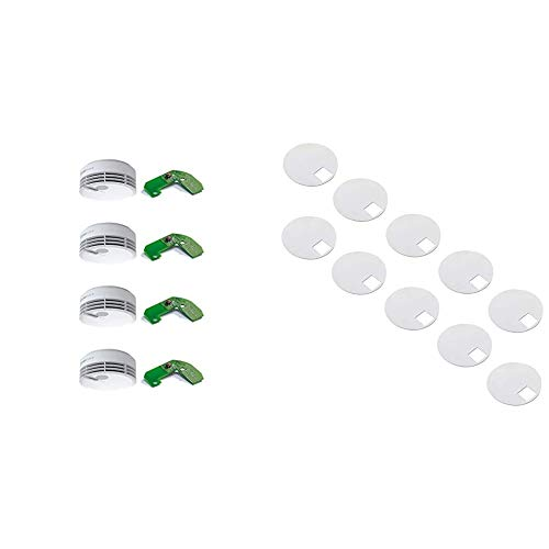 Hekatron 31-5000021-13-01 Rauchmelder Genius Plus X inkl. Funkmodul Basis X & Mehrfarbig LED – Rauchwarnmelder in Weiß & Klebepad Genius für Rauchwarnmelder - Klebepad für die Befestigung
