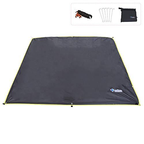 TRIWONDER Lona de Tienda de Campaña Impermeable Anti UV Portátil Ligero Toldo para Camping Playa Picnic al Aire Libre (Negro, S - 150 x 220 cm)