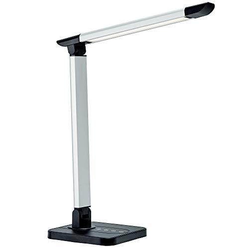 B.K.Licht LED Schreibtischlampe 7W | dimmbare Tischlampe mit USB-Port | inkl. LED-Leuchtmodul mit Memory-Funktion | 11 Helligkeitsstufen | 3 Farbtemperaturen | Touch Control | 500lm | schwarz