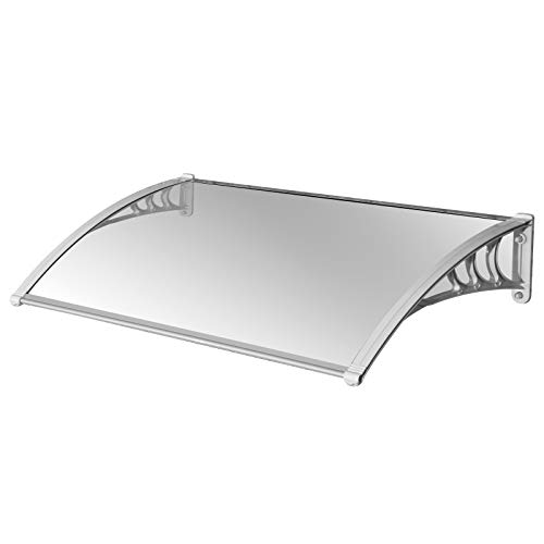 MCombo 40 inch x 30 inch / 80 inch x 30 inch Door Window Awning Polycarbonate Cover Rain Sun Shetter Solid Sheet (40'' x 30'', Clear Solid Board+White Bracket+Sliver Fixing Bar)
