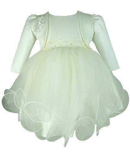 Baby Mädchen Elfenbein Glitzernd Taufe Brautkleid mit Elfenbein Schmetterlingen Satin Bolero Jacke by Frazer und James Jahr 12-18 Monate