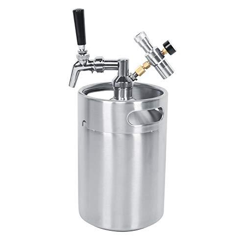 Barril de cerveza -5L Acero inoxidable Elaboración casera Mini barril de cerveza Dispensador de lanza Grifo Medidor de presión de 2 clases